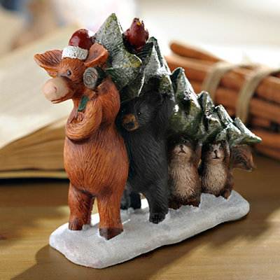 Moose and Friends Carry Christmas Tree Statue