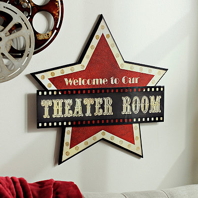 Welcome to our Theater Room Wooden Plaque