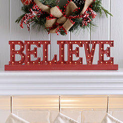 Pre-Lit Believe Metal Sign