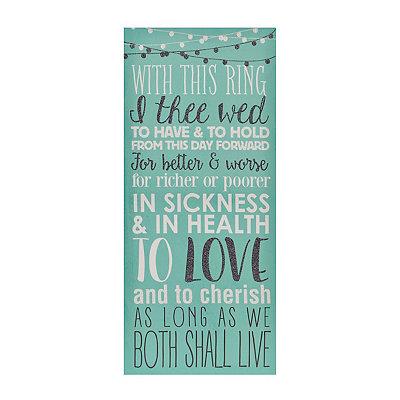 Glittered Wedding Vows Canvas Plaque