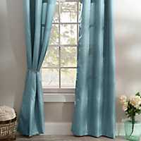 Teal Silk Curtain Panel Set, 108 in.