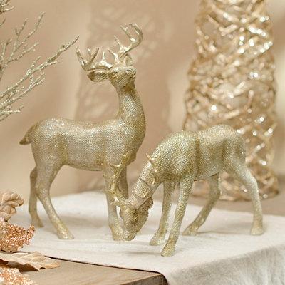 Glitter Champagne Reindeer Statues