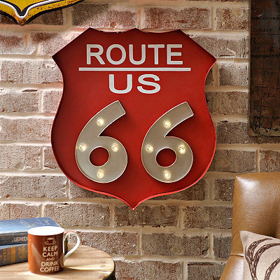 Red LED Route 66 Metal Plaque