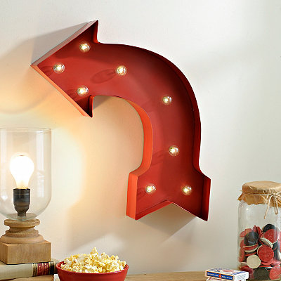 Red Curved Arrow LED Metal Plaque