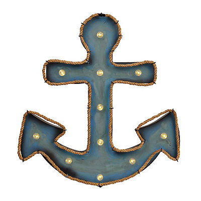 Blue LED Anchor with Rope Trim Metal Plaque