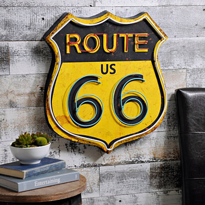 Retro Route 66 Metal Plaque