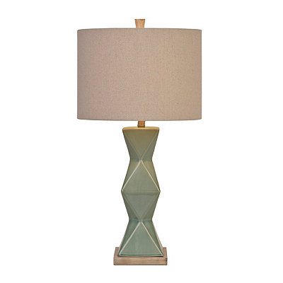 Blue-Green Ceramic Faceted Table Lamp