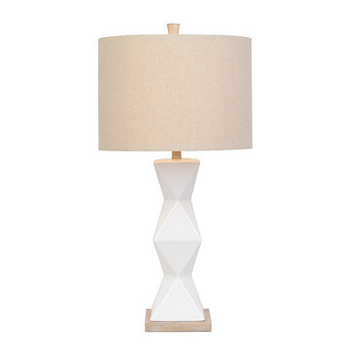 White Ceramic Faceted Table Lamp