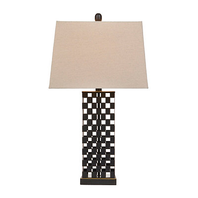Bronze Cutout Checker Table Lamp