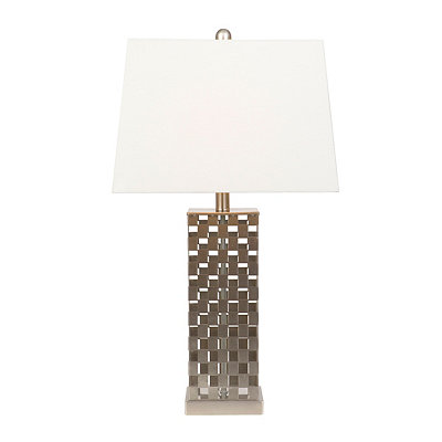 Brushed Steel Cut-Out Checker Table Lamp