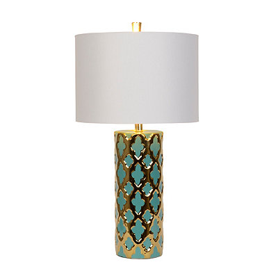Blue and Gold Moroccan Table Lamp