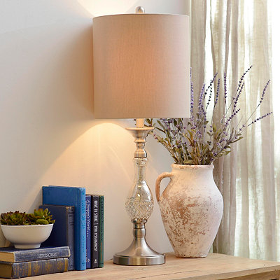Steel and Silver Mercury Glass Table Lamp