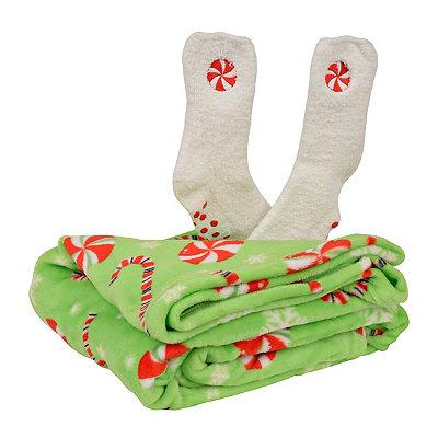 Candy Swirl Fleece Blanket and Socks Gift Set