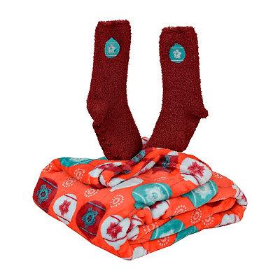 Ornament Fleece Blanket and Socks Gift Set