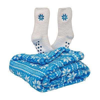 Snowflake Fleece Blanket and Socks Gift Set
