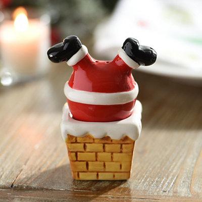 Santa in the Chimney Salt and Pepper Shaker Set