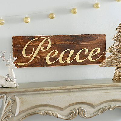 Gold Peace Wood Plank Plaque