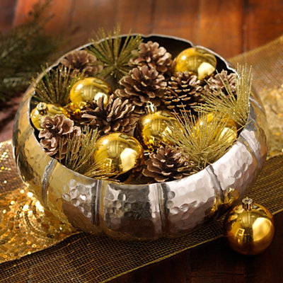 Glittered Gold Pine and Ornament Filler