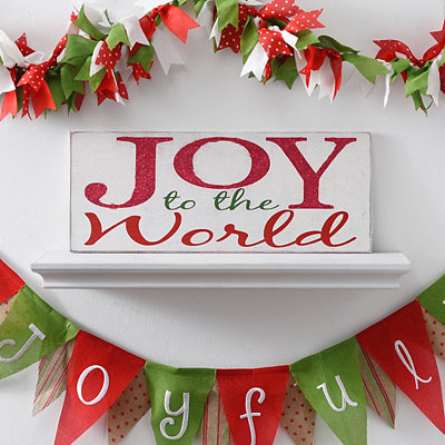 Glitter Joy to the World Wooden Plaque
