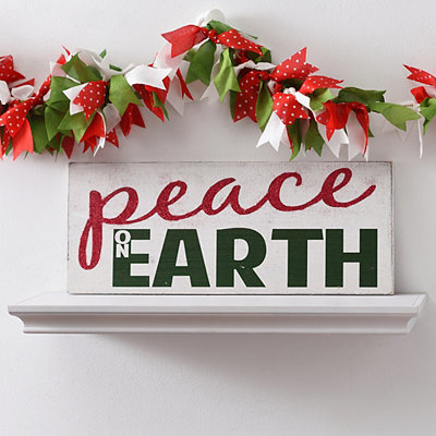Glitter Peace on Earth Wooden Plaque