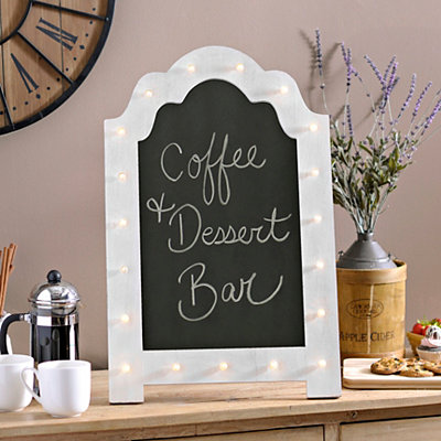 White Pre-Lit Marquee Chalkboard Easel