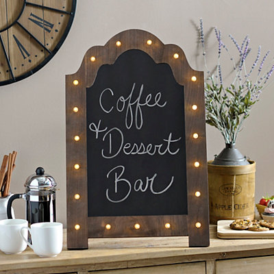 Natural Pre-Lit Marquee Chalkboard Easel