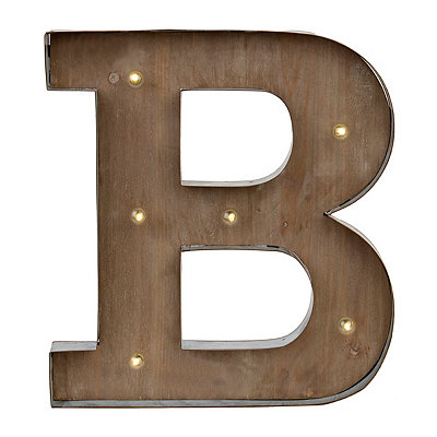 Wood and Metal LED Monogram B Plaque