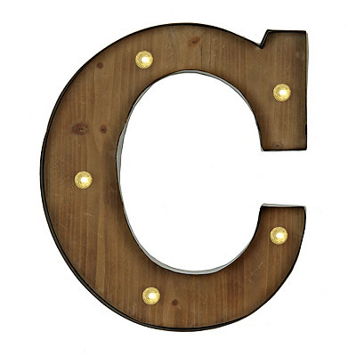 Wood and Metal LED Monogram C Plaque