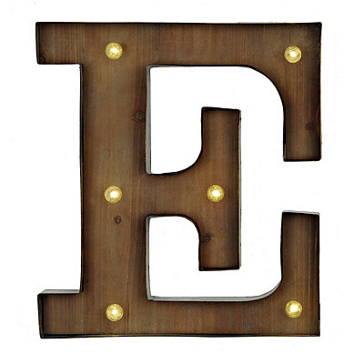 Wood and Metal LED Monogram E Plaque
