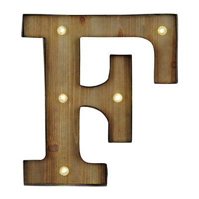 Wood and Metal LED Monogram F Plaque