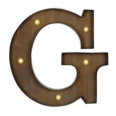 Wood and Metal LED Monogram G Plaque