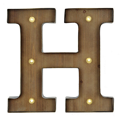 Wood and Metal LED Monogram H Plaque