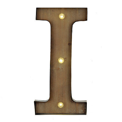 Wood and Metal LED Monogram I Plaque