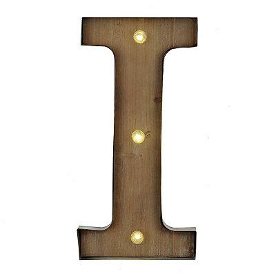 Wood and Metal LED Monogram I Plaque