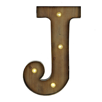 Wood and Metal LED Monogram J Plaque
