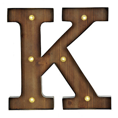 Wood and Metal LED Monogram K Plaque