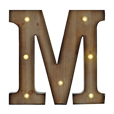 Wood and Metal LED Monogram M Plaque