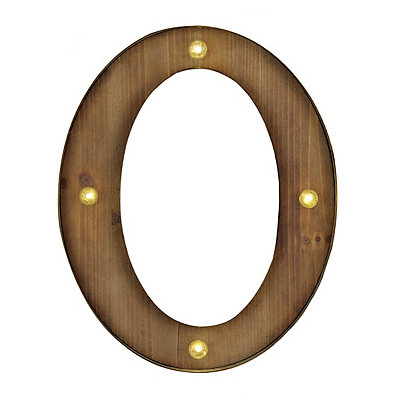 Wood and Metal LED Monogram O Plaque