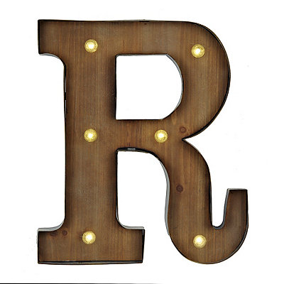 Wood and Metal LED Monogram R Plaque