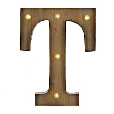 Wood and Metal LED Monogram T Plaque