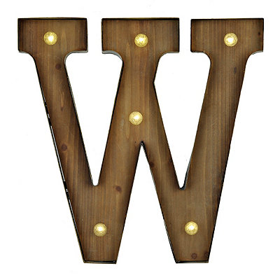 Wood and Metal LED Monogram W Plaque