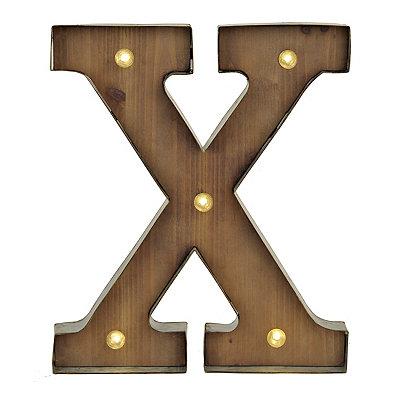 Wood and Metal LED Monogram X Plaque
