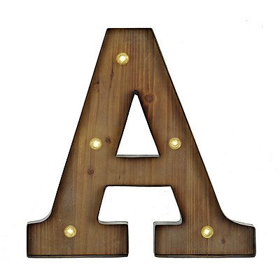 Wood and Metal LED Monogram A Plaque