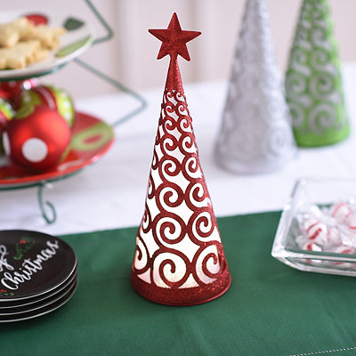 Pre-Lit Swirling Red Glittered Cone Tree