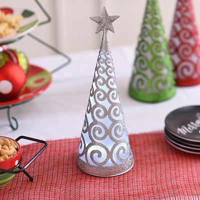 Pre-Lit Swirling Silver Glittered Cone Tree