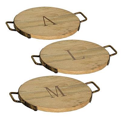 Wood and Iron Monogram Cheese Trays