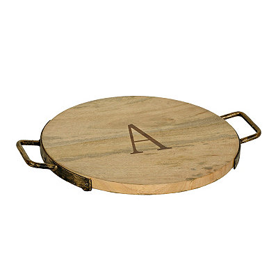 Wood and Iron Monogram A Cheese Tray