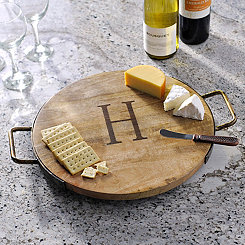 Wood and Iron Monogram H Cheese Tray