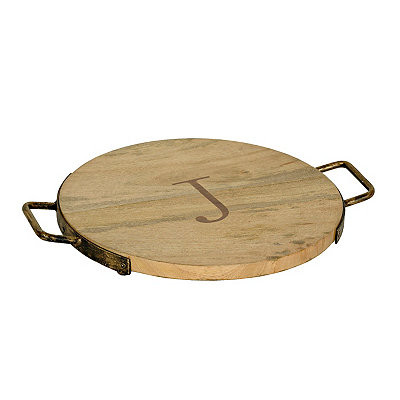 Wood and Iron Monogram J Cheese Tray