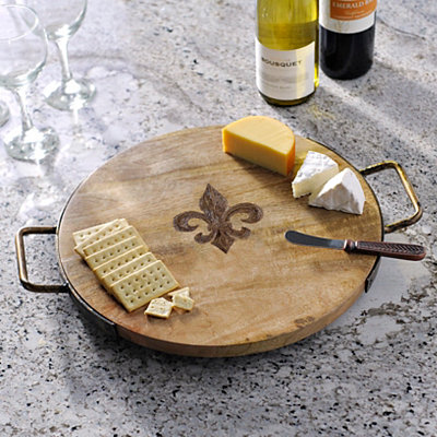 Wood and Iron Fleur-de-lis Cheese Tray